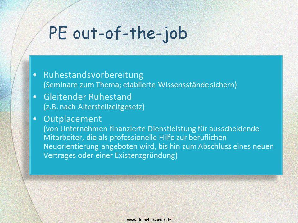 PE out-of-the-job Ruhestandsvorbereitung (Seminare zum Thema; etablierte Wissensstände sichern)