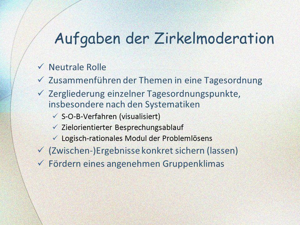 Aufgaben der Zirkelmoderation