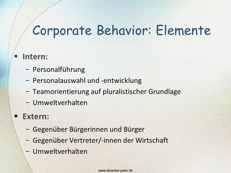 Corporate Behavior: Elemente