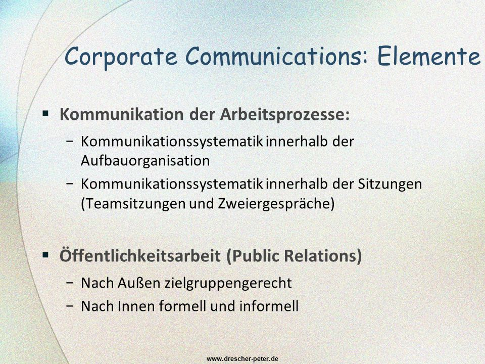 Corporate Communications: Elemente