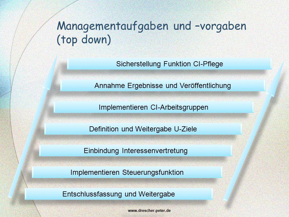 Managementaufgaben und –vorgaben (top down)