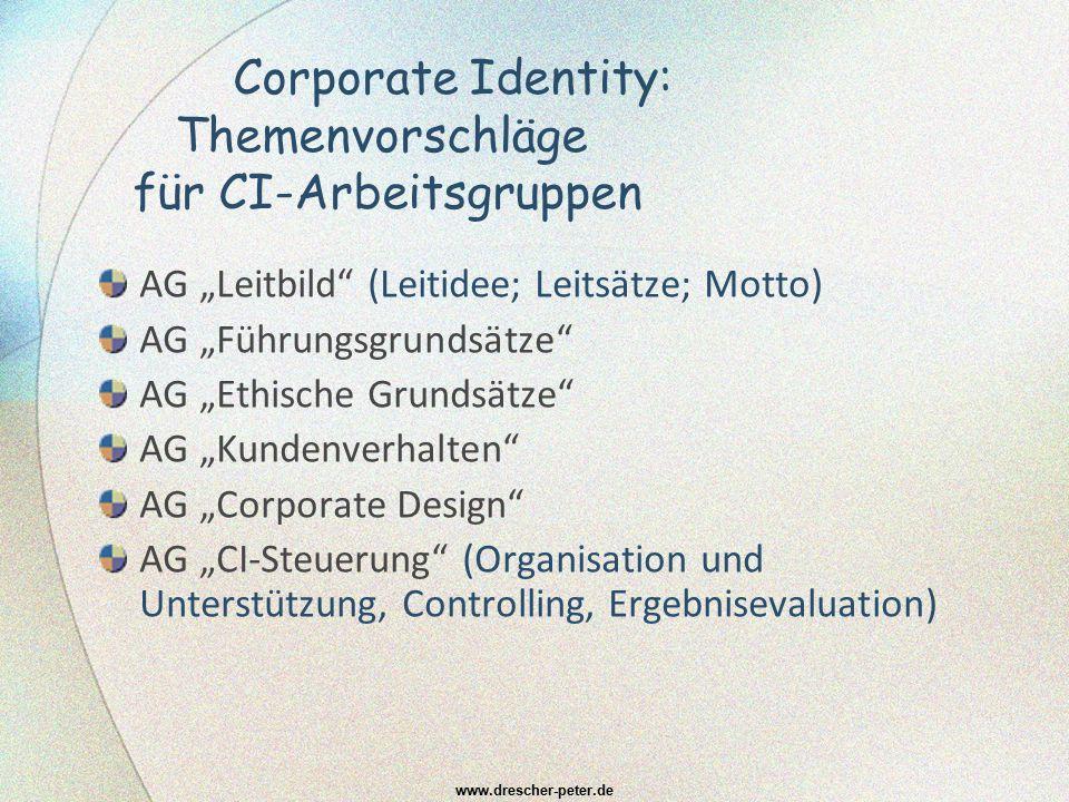 Corporate Identity: Themenvorschläge für CI-Arbeitsgruppen