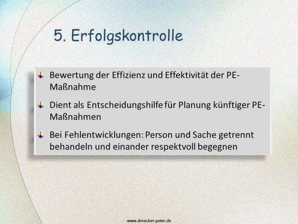 5. Erfolgskontrolle Bewertung der Effizienz und Effektivität der PE-Maßnahme. Dient als Entscheidungshilfe für Planung künftiger PE-Maßnahmen.