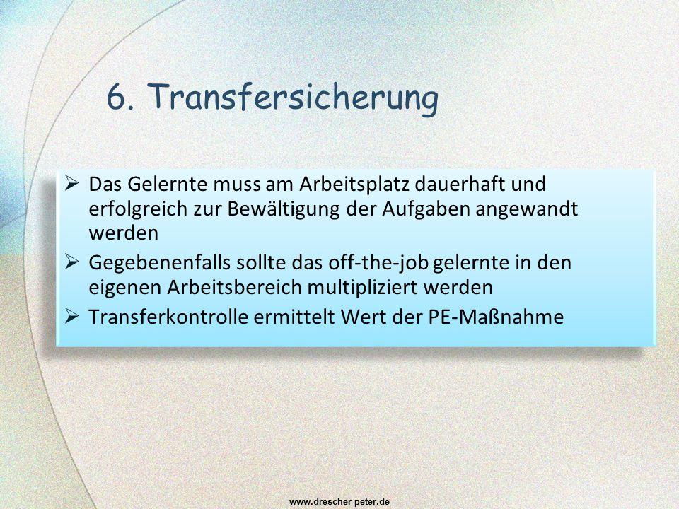 6. Transfersicherung Das Gelernte muss am Arbeitsplatz dauerhaft und erfolgreich zur Bewältigung der Aufgaben angewandt werden.