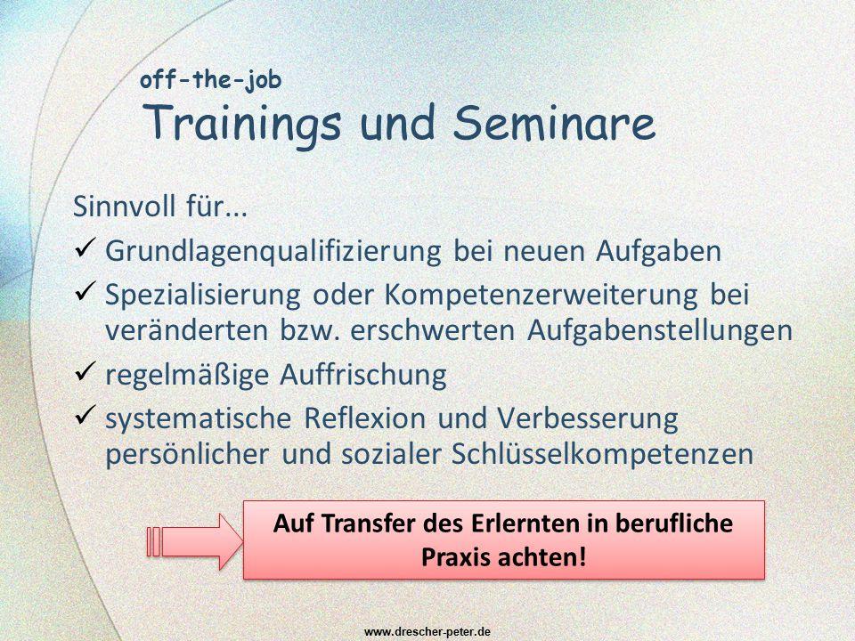 off-the-job Trainings und Seminare