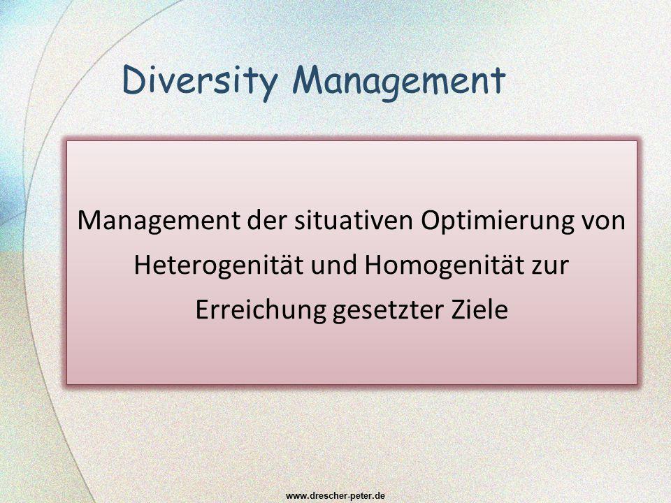Diversity Management Management der situativen Optimierung von Heterogenität und Homogenität zur Erreichung gesetzter Ziele.