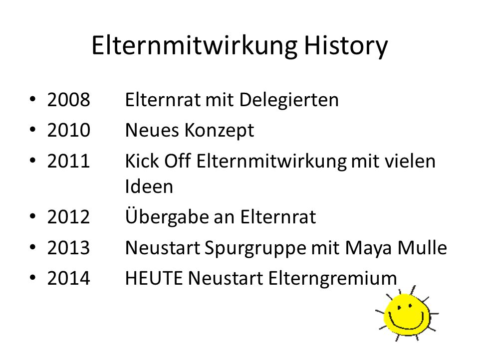 Elternmitwirkung History