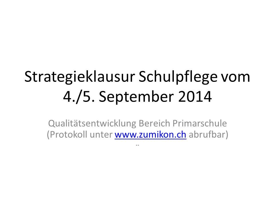 Strategieklausur Schulpflege vom 4./5. September 2014