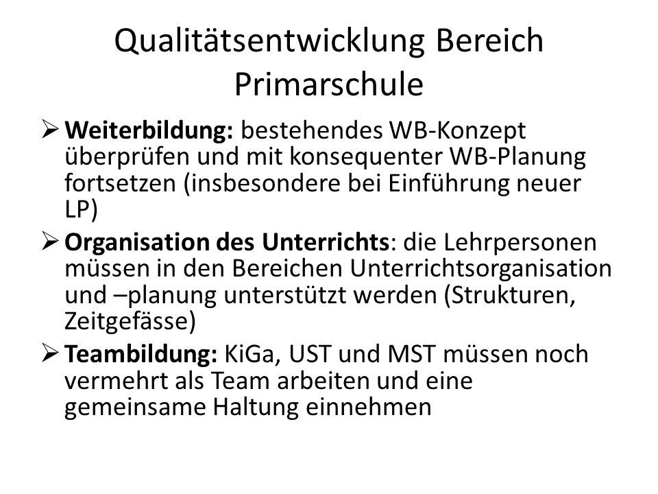 Qualitätsentwicklung Bereich Primarschule
