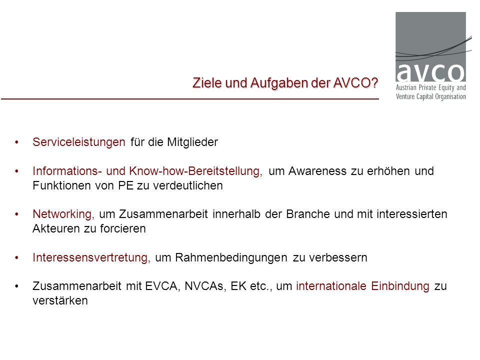 Ziele und Aufgaben der AVCO