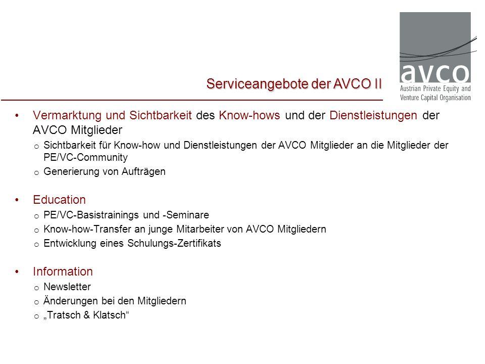 Serviceangebote der AVCO II