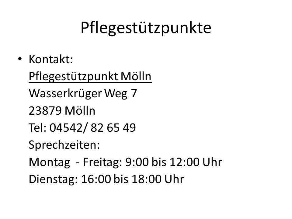 Pflegestützpunkte Kontakt: Pflegestützpunkt Mölln Wasserkrüger Weg 7