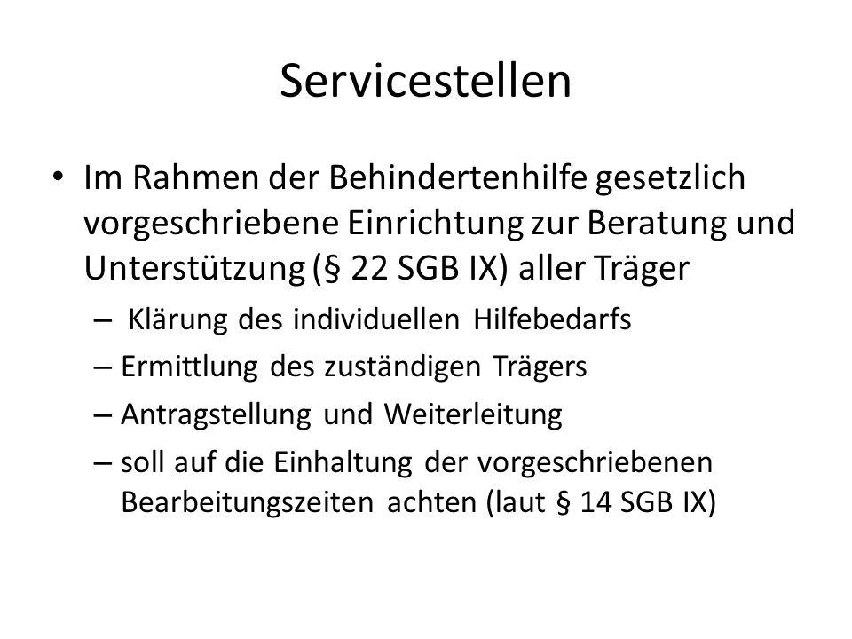Servicestellen Im Rahmen der Behindertenhilfe gesetzlich vorgeschriebene Einrichtung zur Beratung und Unterstützung (§ 22 SGB IX) aller Träger.