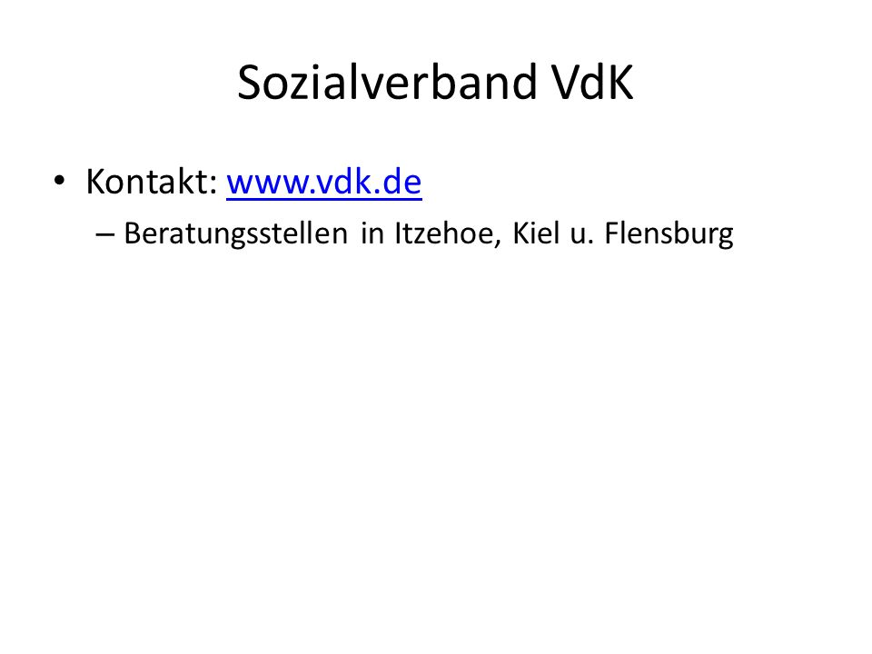Sozialverband VdK Kontakt: www.vdk.de