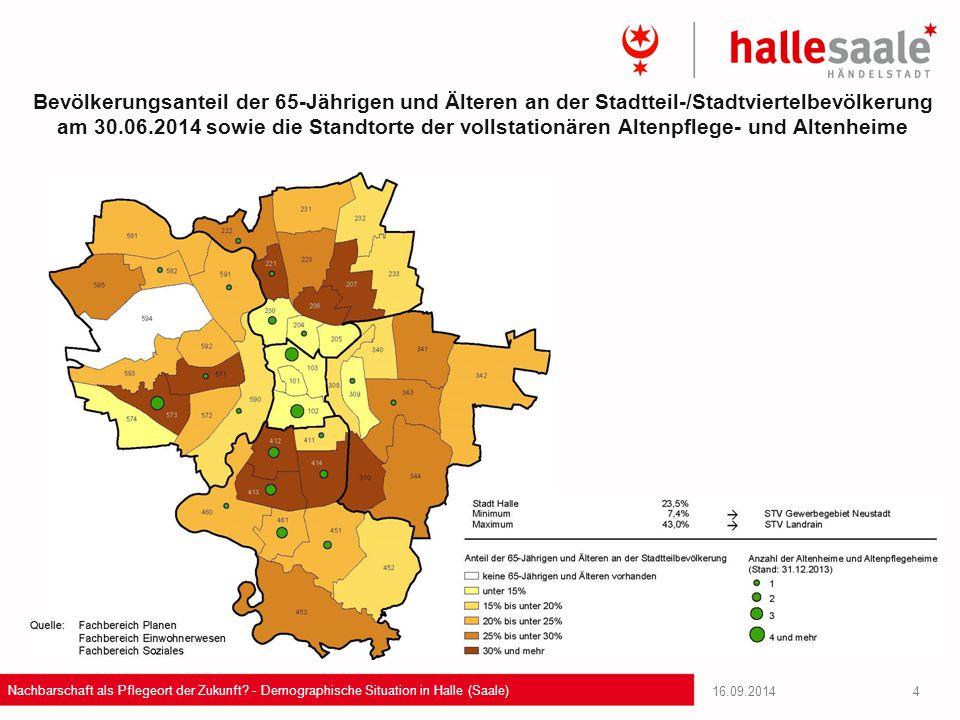 Bevölkerungsanteil der 65-Jährigen und Älteren an der Stadtteil-/Stadtviertelbevölkerung am 30.06.2014 sowie die Standtorte der vollstationären Altenpflege- und Altenheime