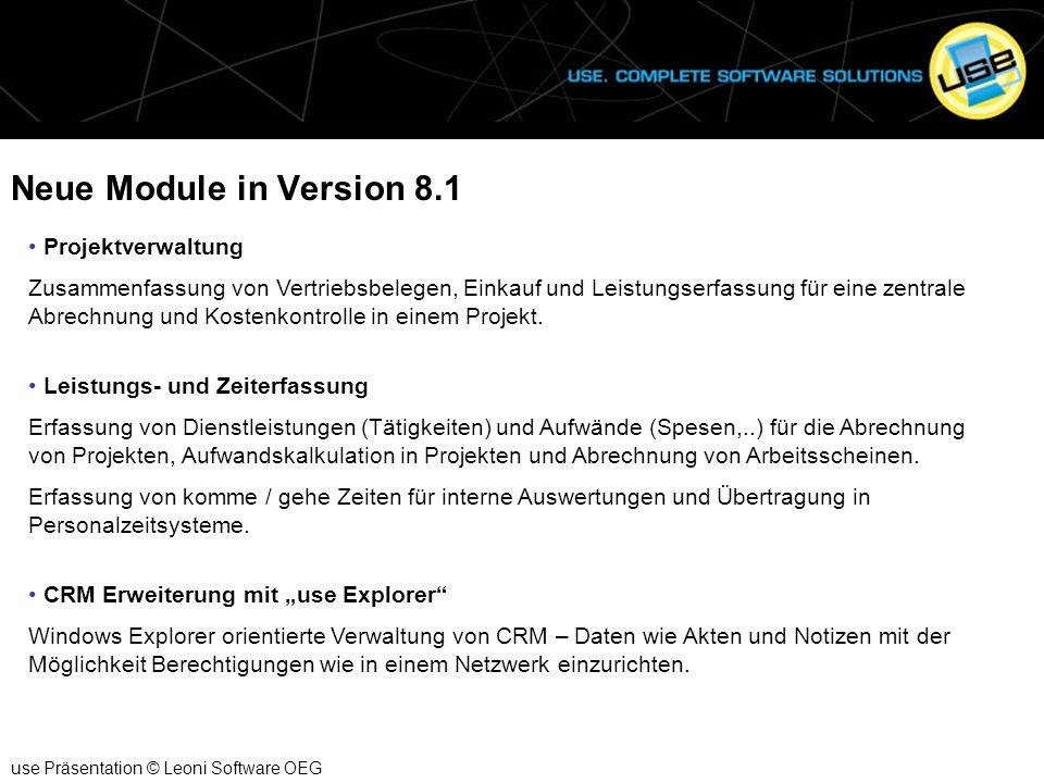 Neue Module in Version 8.1 Projektverwaltung