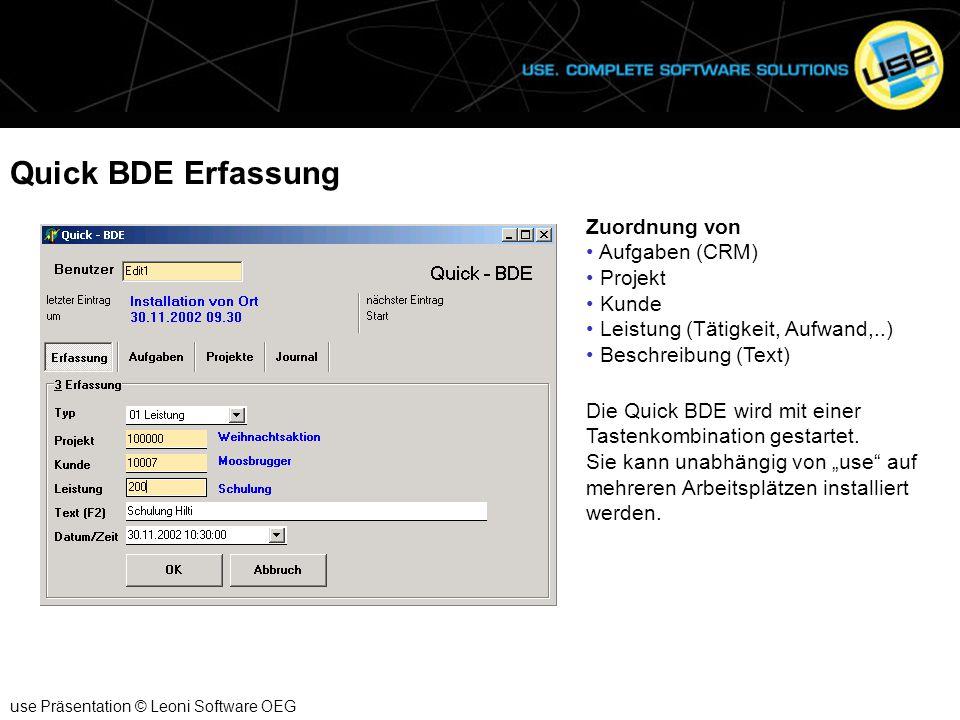 Quick BDE Erfassung Zuordnung von Aufgaben (CRM) Projekt Kunde