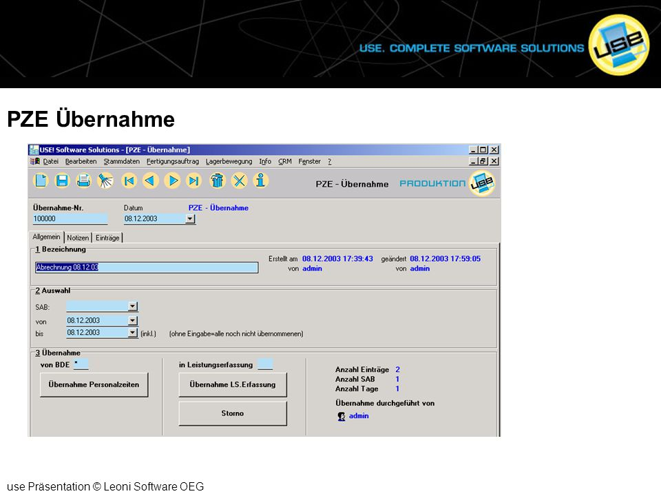 PZE Übernahme use Präsentation © Leoni Software OEG