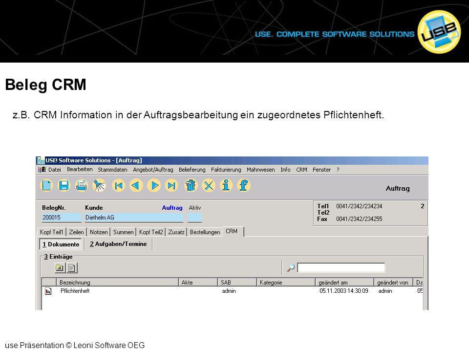 Beleg CRM z.B. CRM Information in der Auftragsbearbeitung ein zugeordnetes Pflichtenheft.