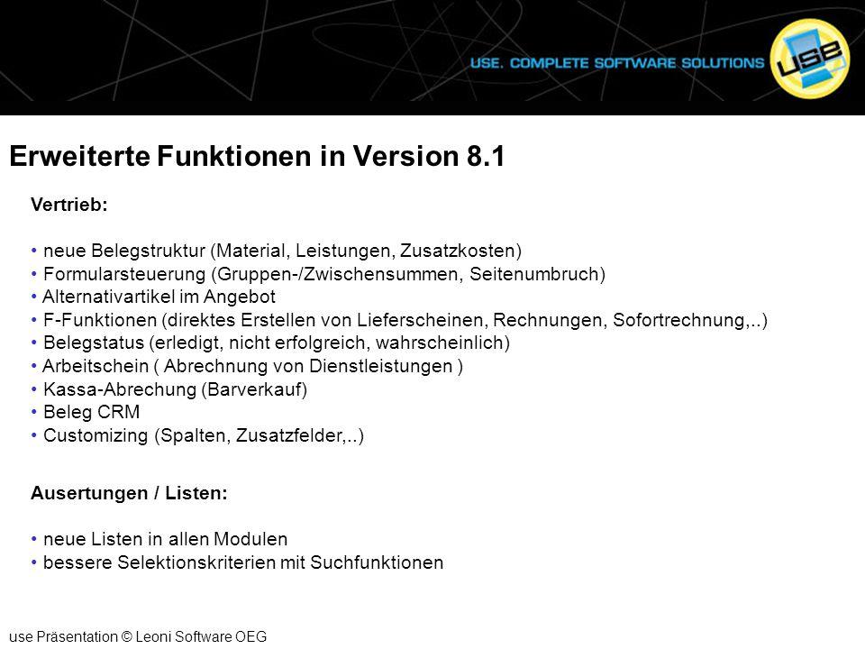 Erweiterte Funktionen in Version 8.1