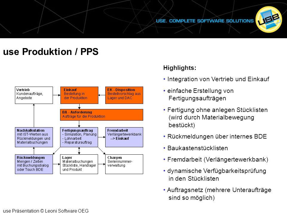 use Produktion / PPS Highlights: Integration von Vertrieb und Einkauf