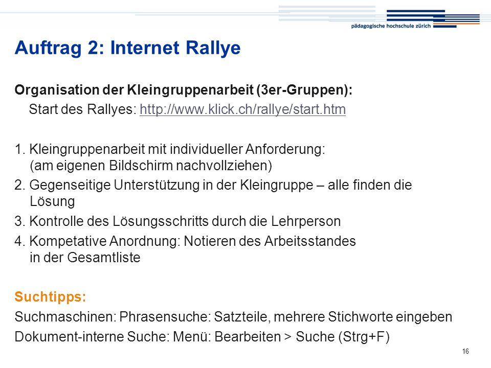 Auftrag 2: Internet Rallye
