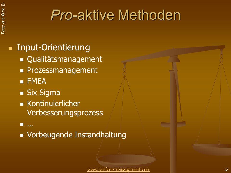 Pro-aktive Methoden Input-Orientierung Qualitätsmanagement