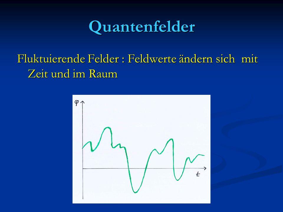 Quantenfelder Fluktuierende Felder : Feldwerte ändern sich mit Zeit und im Raum