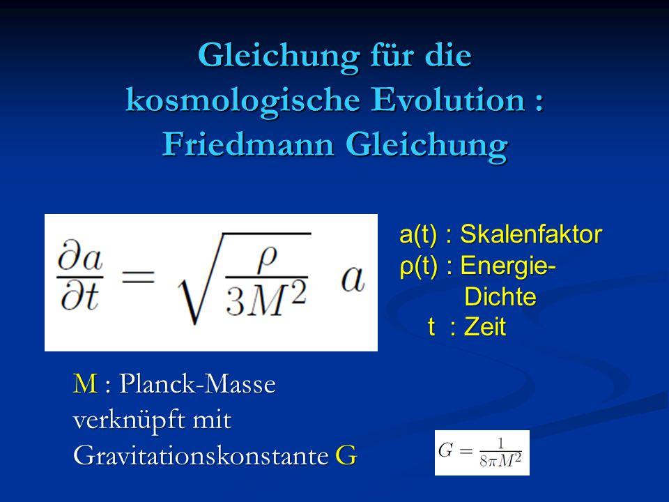 Gleichung für die kosmologische Evolution : Friedmann Gleichung