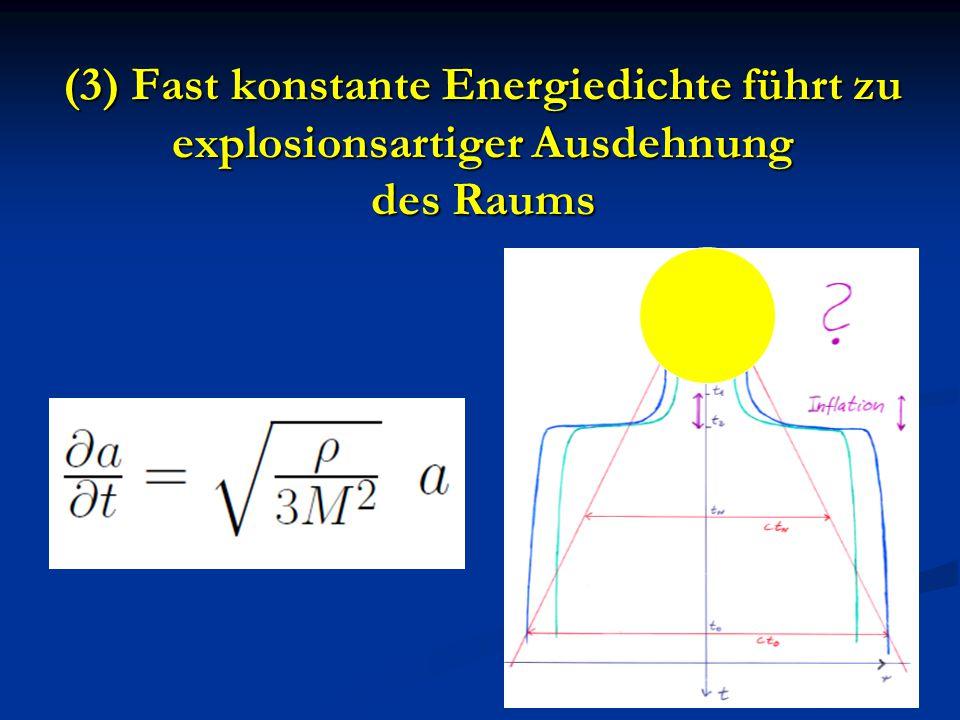 (3) Fast konstante Energiedichte führt zu explosionsartiger Ausdehnung des Raums
