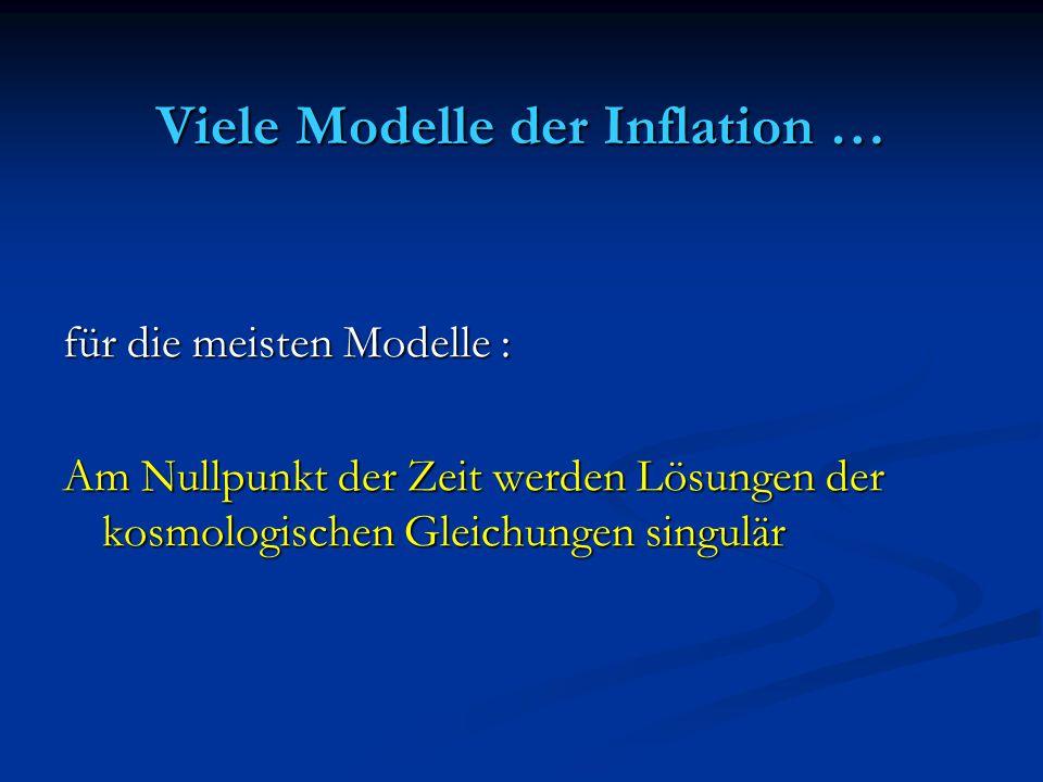 Viele Modelle der Inflation …
