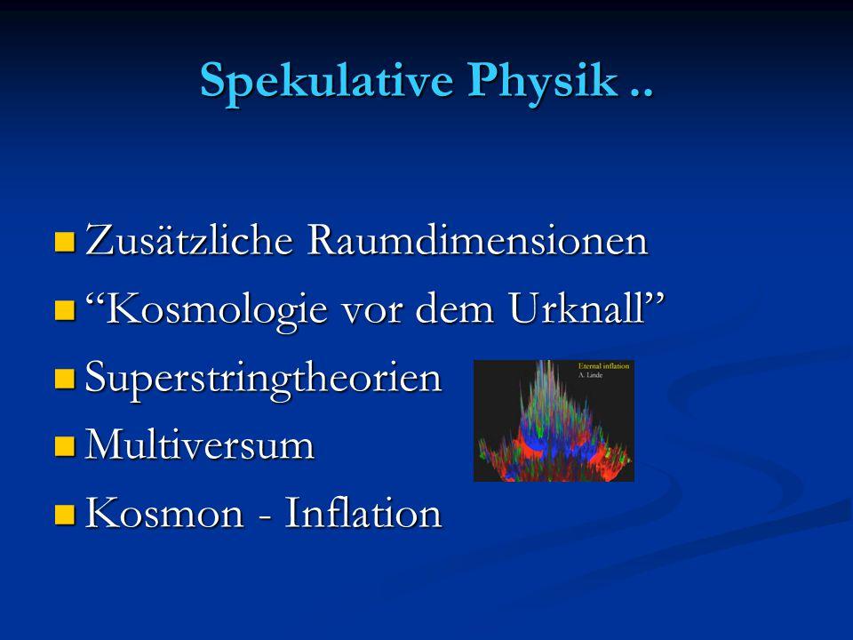 Spekulative Physik .. Zusätzliche Raumdimensionen
