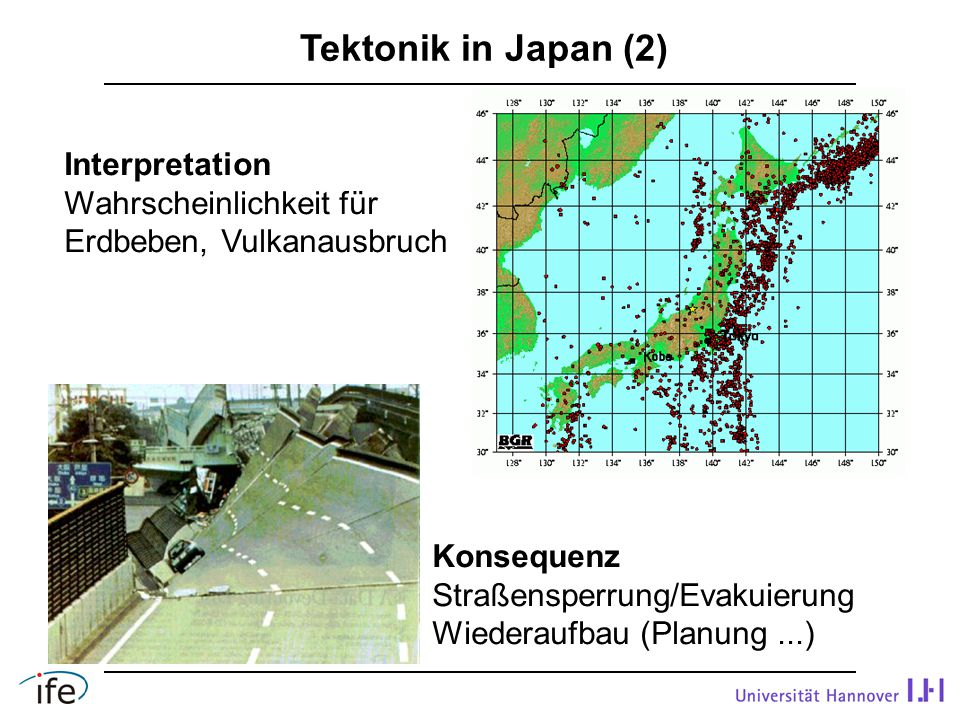 Tektonik in Japan (2) Interpretation