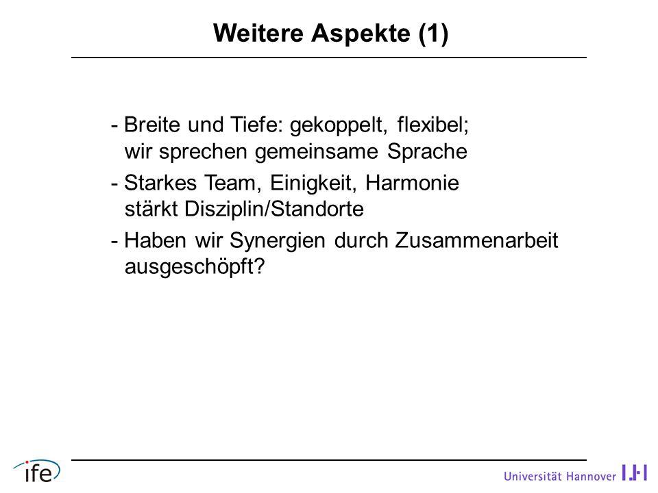 Weitere Aspekte (1) - Breite und Tiefe: gekoppelt, flexibel;