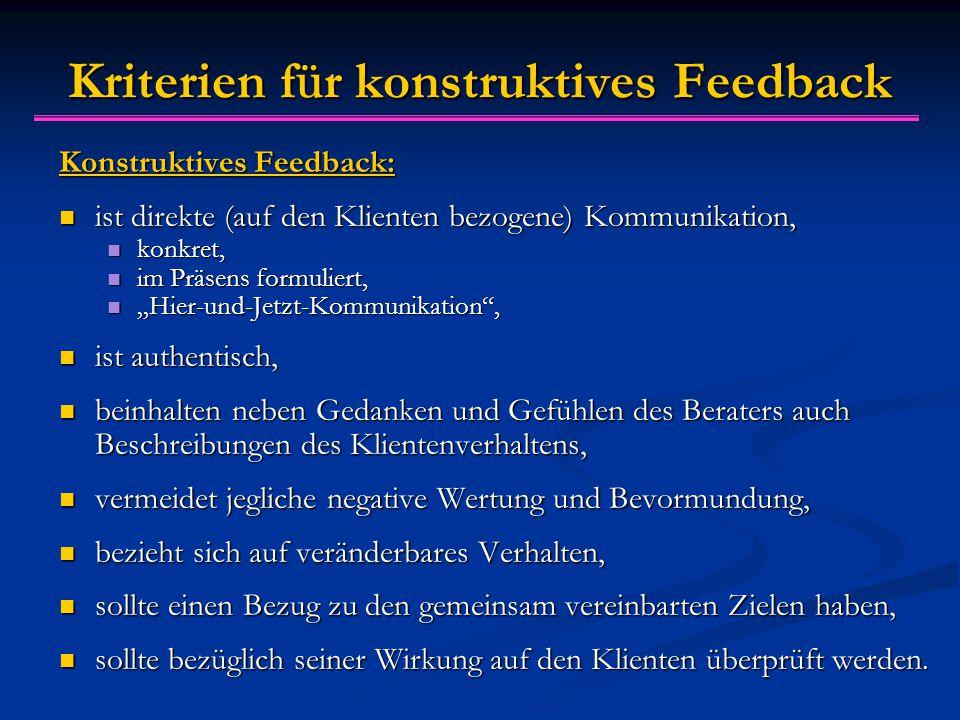 Kriterien für konstruktives Feedback