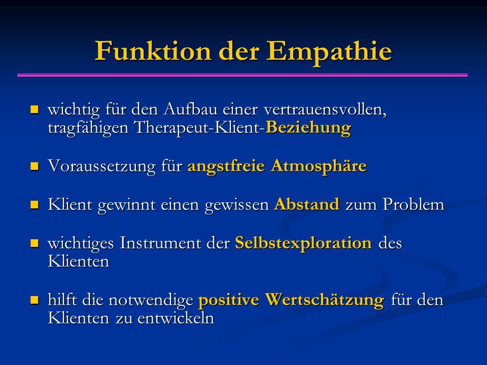 Funktion der Empathie wichtig für den Aufbau einer vertrauensvollen, tragfähigen Therapeut-Klient-Beziehung.