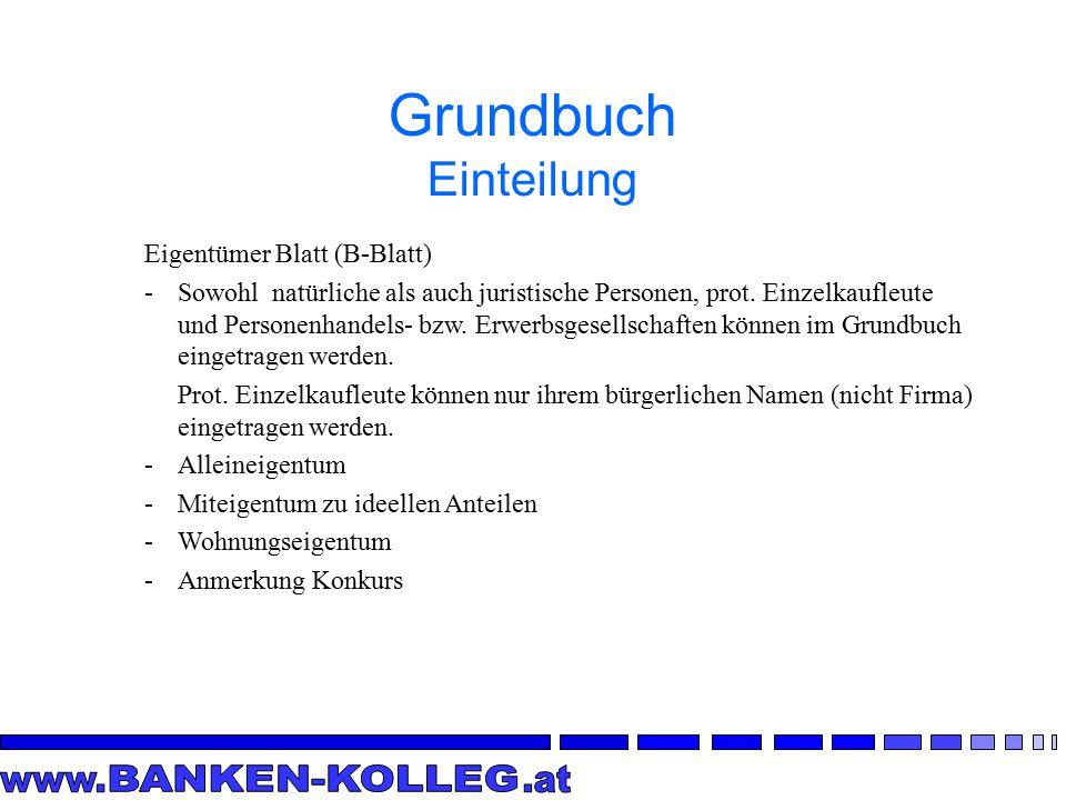 Grundbuch Einteilung Eigentümer Blatt (B-Blatt)