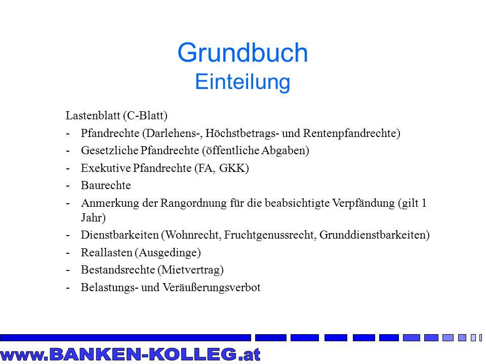 Grundbuch Einteilung Lastenblatt (C-Blatt)