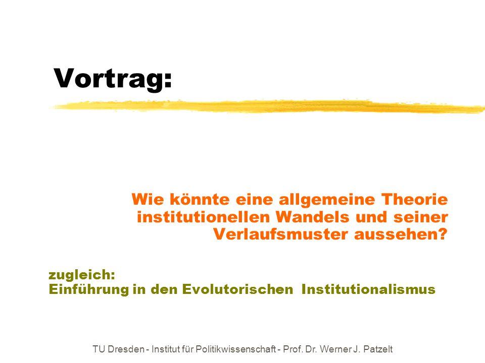 Vortrag: Wie könnte eine allgemeine Theorie institutionellen Wandels und seiner Verlaufsmuster aussehen