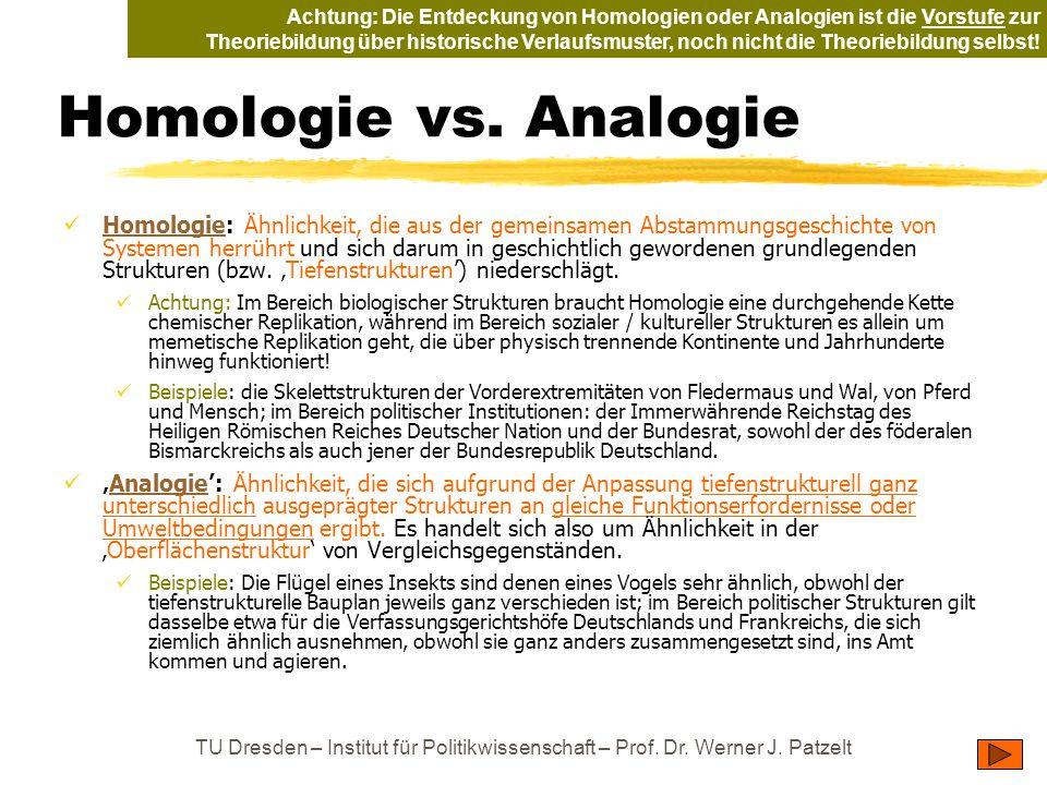 Achtung: Die Entdeckung von Homologien oder Analogien ist die Vorstufe zur Theoriebildung über historische Verlaufsmuster, noch nicht die Theoriebildung selbst!