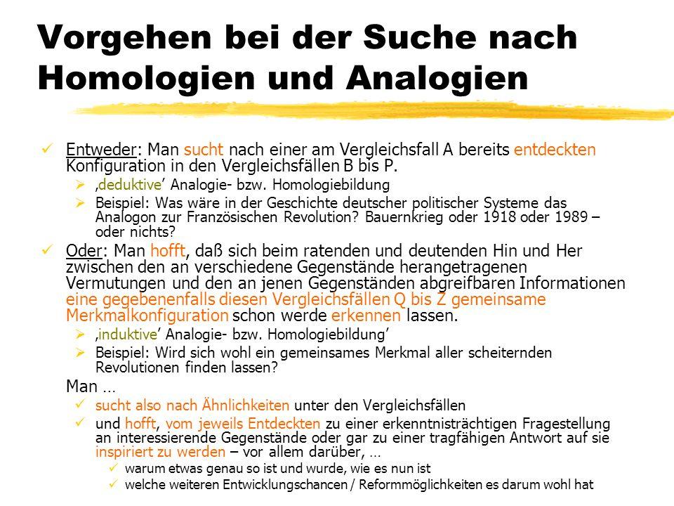 Vorgehen bei der Suche nach Homologien und Analogien