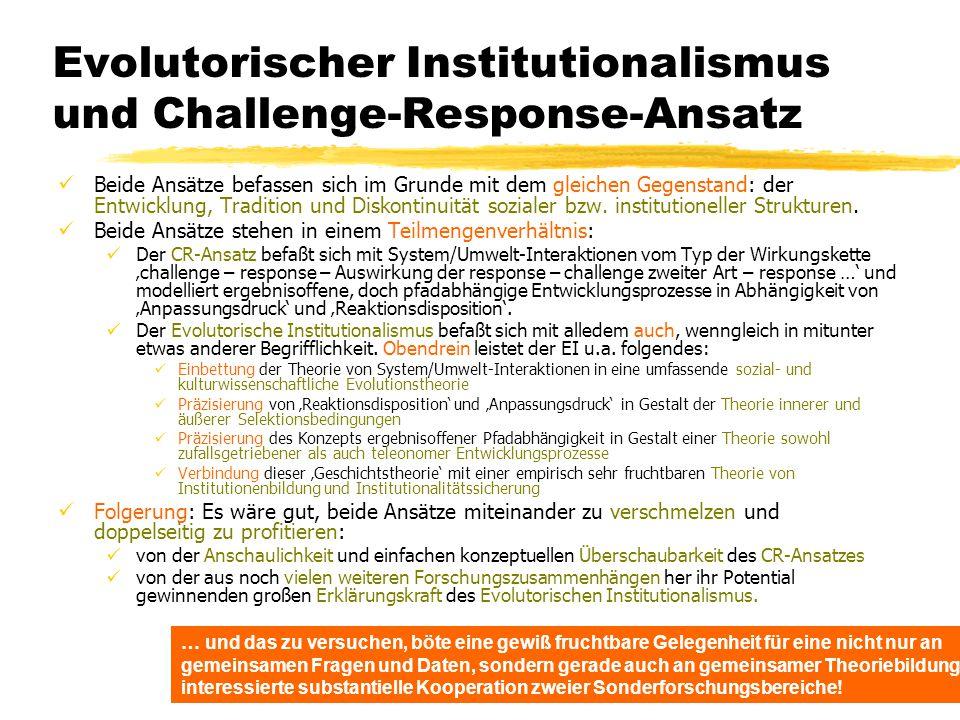 Evolutorischer Institutionalismus und Challenge-Response-Ansatz