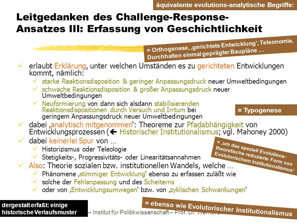 Leitgedanken des Challenge-Response-Ansatzes III: Erfassung von Geschichtlichkeit