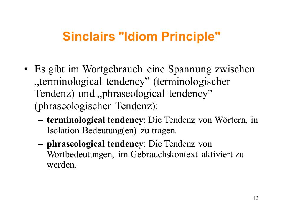 Sinclairs Idiom Principle ‏