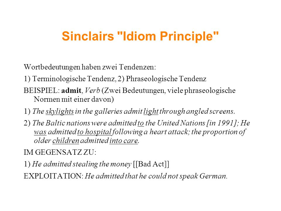 Sinclairs Idiom Principle