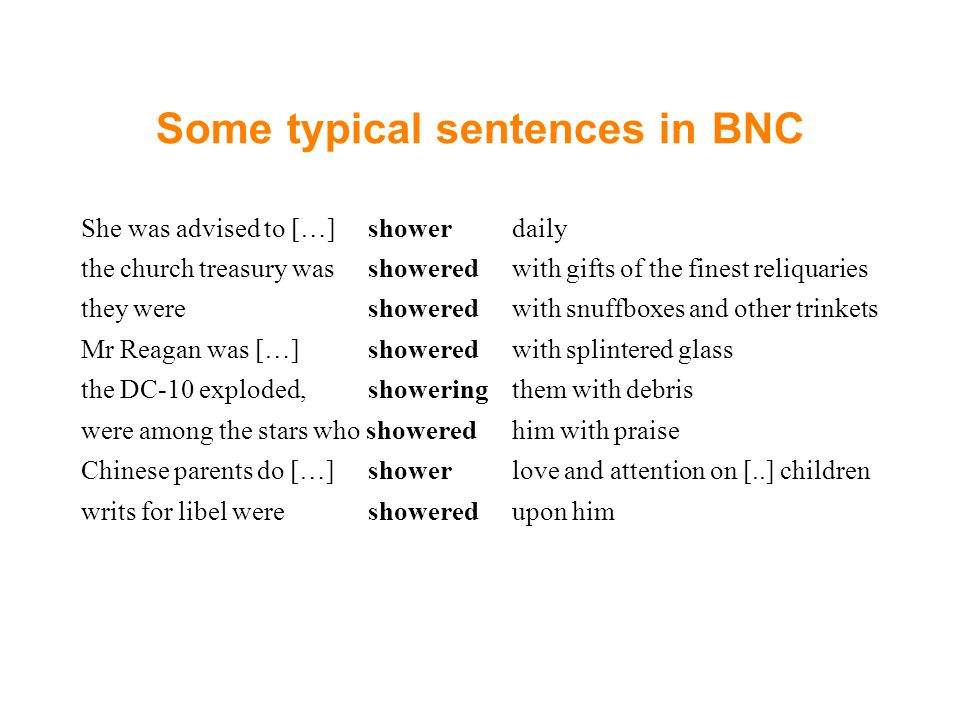 Some typical sentences in BNC
