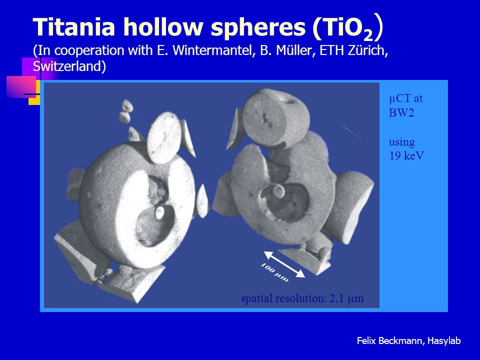 Titania hollow spheres (TiO2) (In cooperation with E. Wintermantel, B