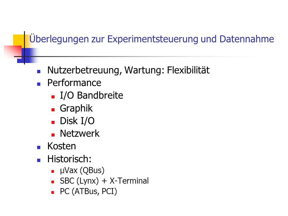 Überlegungen zur Experimentsteuerung und Datennahme