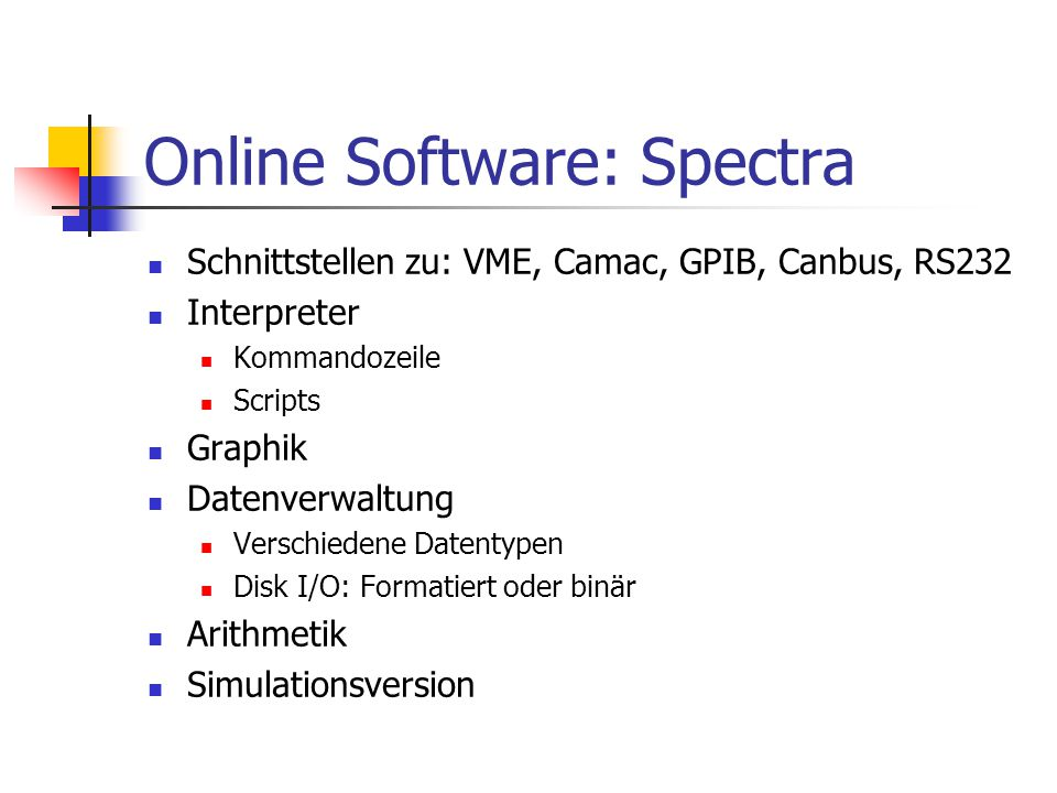 Online Software: Spectra