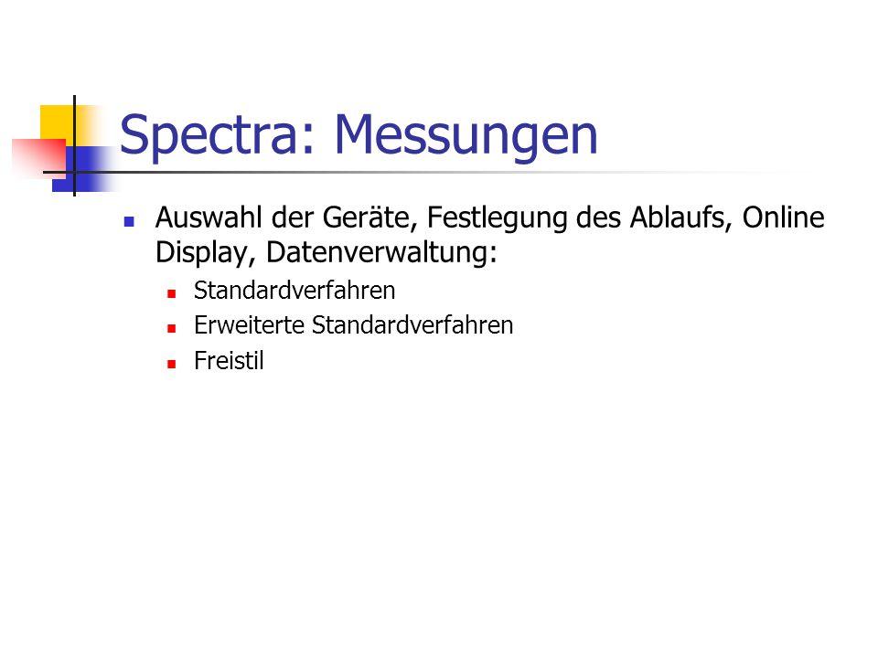 Spectra: Messungen Auswahl der Geräte, Festlegung des Ablaufs, Online Display, Datenverwaltung: Standardverfahren.